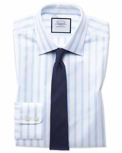 Extra slim fit Egyptian cotton royal Oxford sky blue stripe shirt