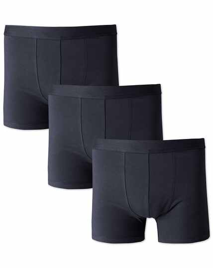 Navy 3 pack cotton stretch jersey trunks