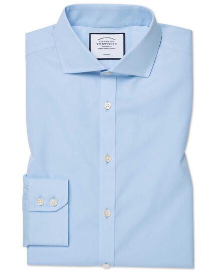 Extra slim fit sky blue non-iron twill cutaway collar shirt
