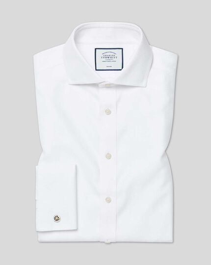 Cutaway Collar Non-Iron Buckingham Weave Shirt - White