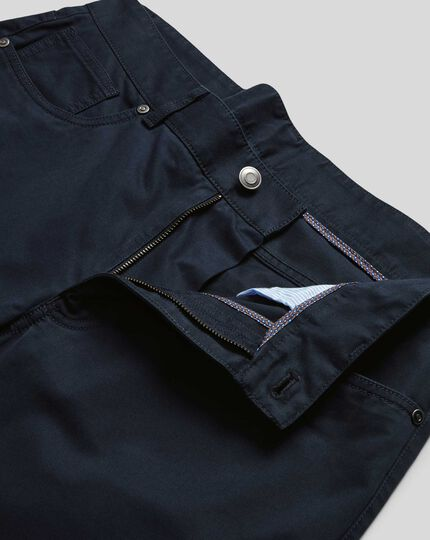 Cotton Stretch Five Pocket Pants - Navy