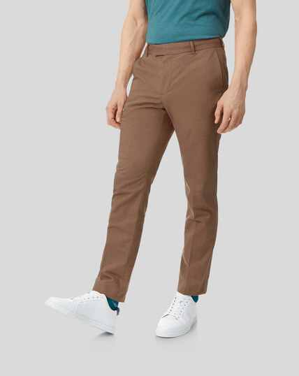 Cotton Linen Stretch Trousers - Ochre