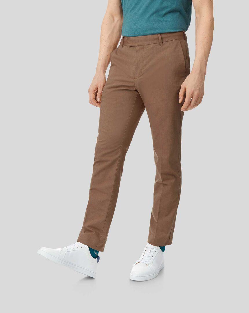 Cotton Linen Stretch Trousers - Ochre