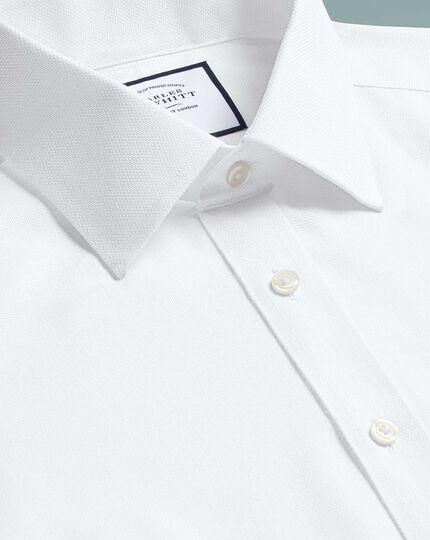 Classic fit non-iron dash weave white shirt