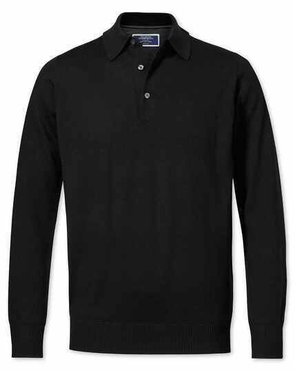 Black merino wool polo neck jumper