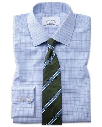 Classic fit non-iron multi check blue shirt
