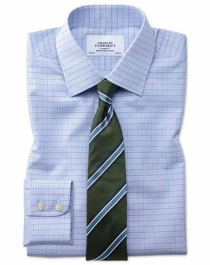Classic fit non-iron multi check blue shirt