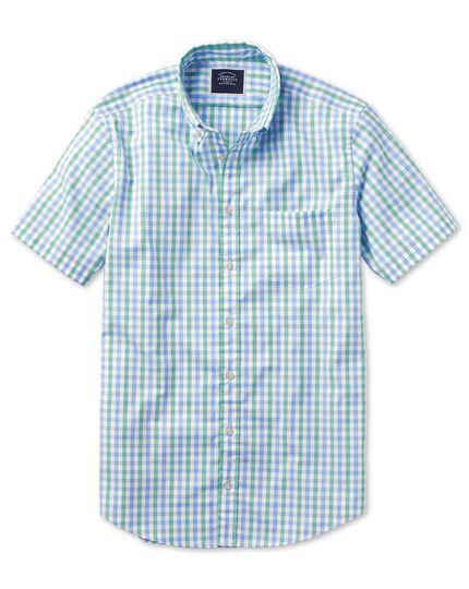 Chemise Tyrwhitt Cool soft washed verte et bleue à carreaux vichy et manches courtes slim fit sans repassage