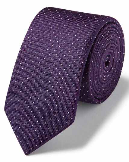 Purple and white spot silk slim tie