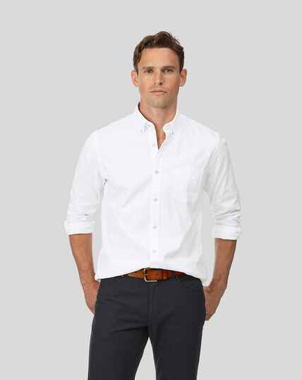 Oxfordhemd mit Button-down-Kragen - Weiß
