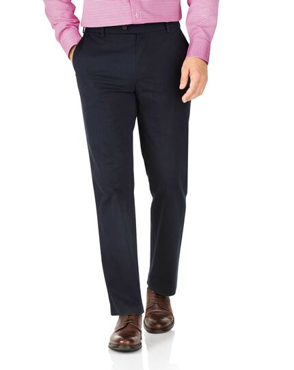 Navy classic fit stretch chinos