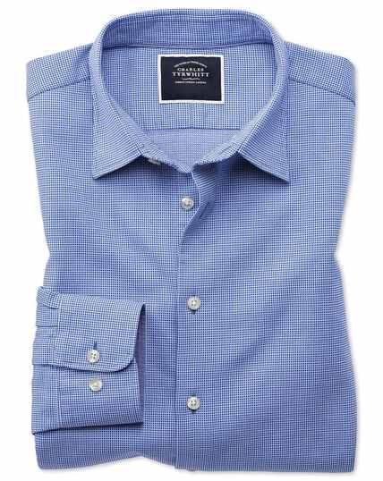 Slim fit royal blue micro check soft texture shirt