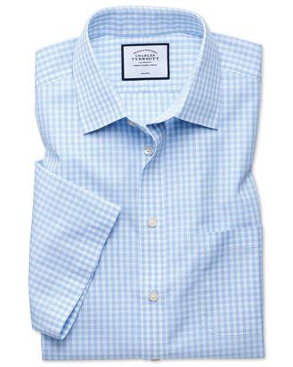 Slim fit non-iron Tyrwhitt Cool poplin short sleeve sky blue shirt