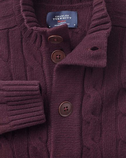 Wine lambswool cable cardigan