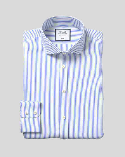 Spread Collar Non-Iron Dobby Stripe Shirt - Sky