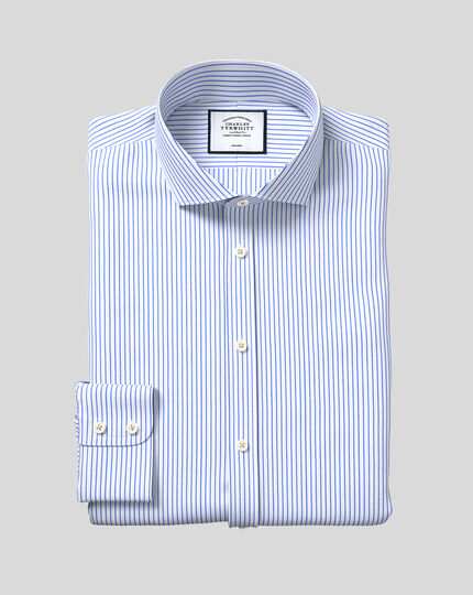 Spread Collar Non-Iron Dobby Stripe Shirt - Sky