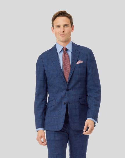 Merino Check Business Suit Jacket - Blue