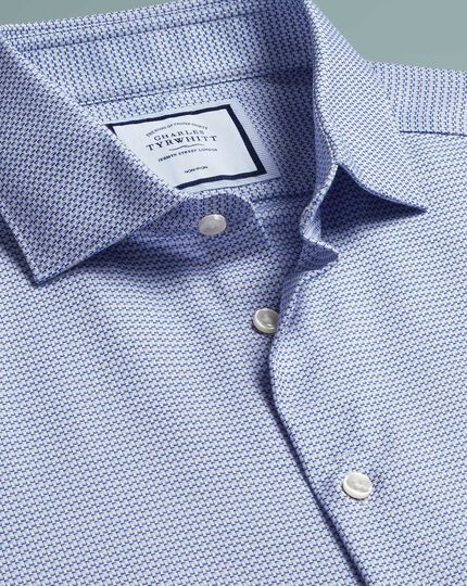 Chemise texturée naturellement stretch bleue super slim fit sans repassage