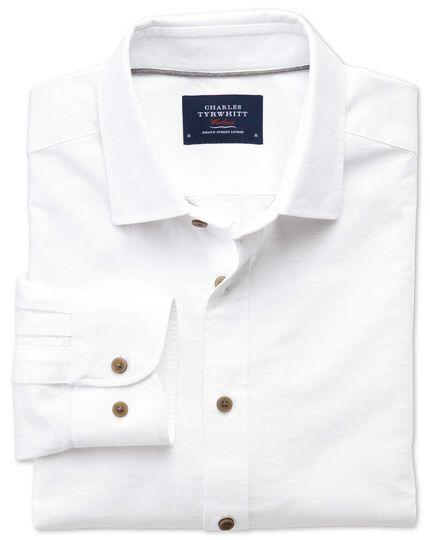 Chemise blanche en dobby texturé coupe droite à pois