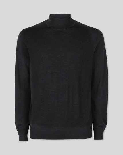 Dark charcoal merino turtle neck jumper