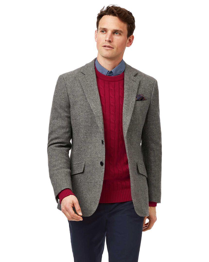 Slim fit light grey semi plain textured wool jacket