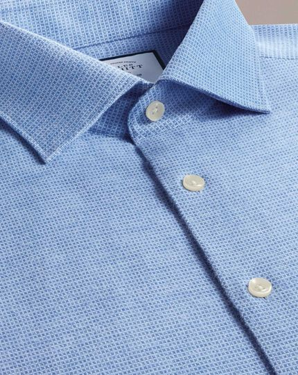 Slim fit business casual sky blue square pattern soft cotton shirt