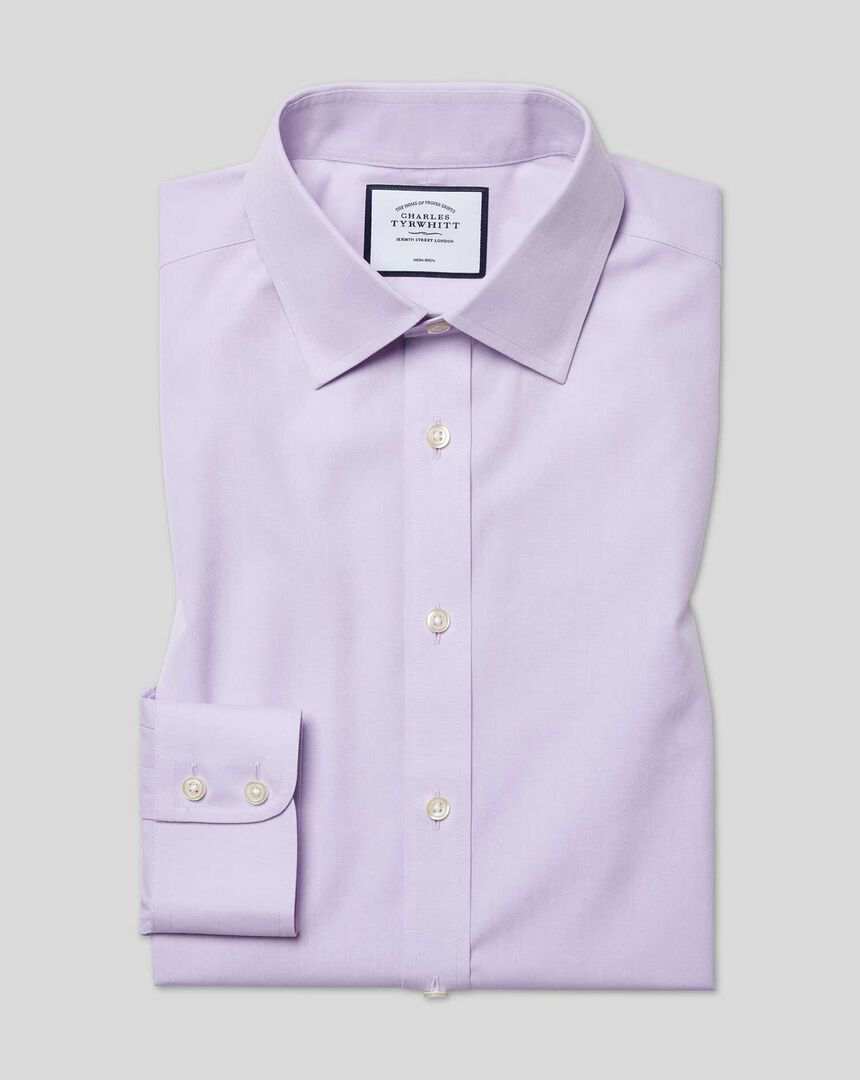 Bügelfreies Popeline-Hemd mit Kent-Kragen- Lila