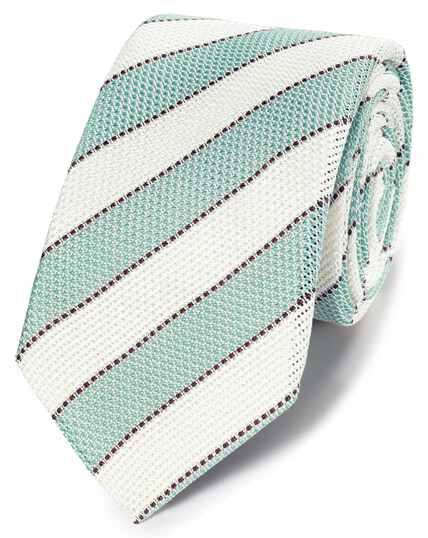 Aqua silk grenadine stripe italian luxury tie