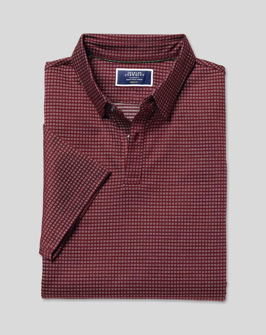 Jacquard Cotton Polo - Burgundy