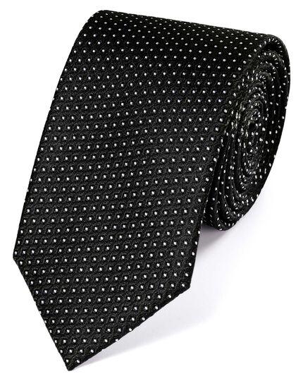 Cravate classique noire et blanche en soie à motif soigné