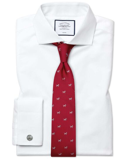 Red silk motif jacquard Scottie dog classic tie