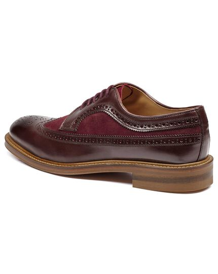 Burgundy Lanescot brogue wing tip Derby shoe