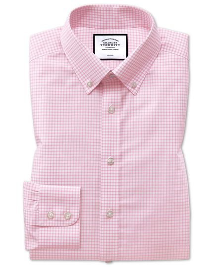 Extra slim fit button-down non-iron pink windowpane check shirt