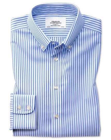 Bügelfrei Slim Fit Hemd mit Button-down Kragen in Himmelblau mit Streifen und Karos