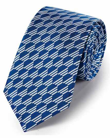 Royal blue silk geometric classic tie