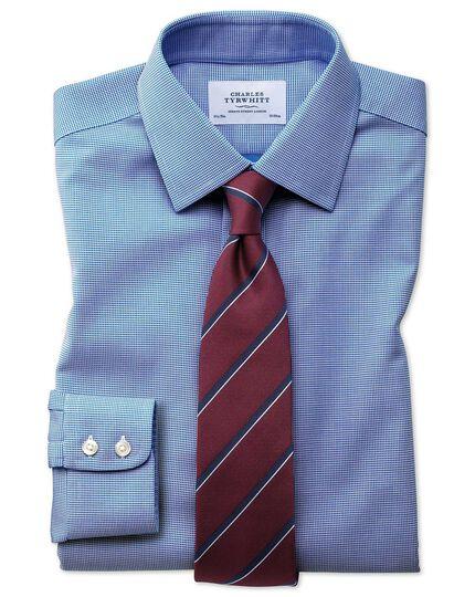 Bügelfreies Slim Fit Hemd in Blau mit gewebten Quadraten