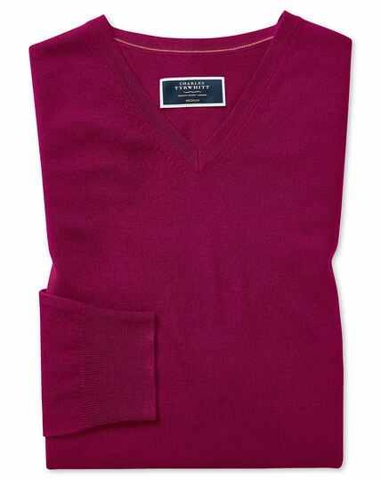 Raspberry merino v-neck jumper
