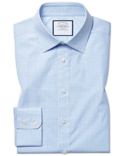 Slim fit sky blue small gingham shirt