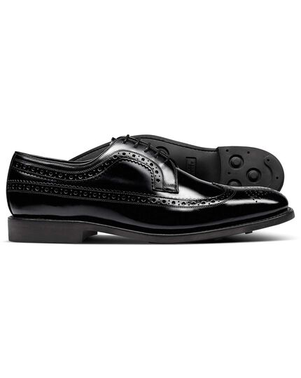 Black Goodyear welted Derby wing tip brogue shoes