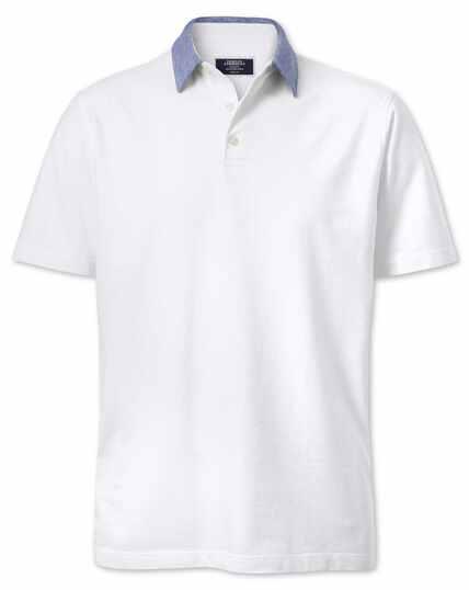 White cotton linen polo