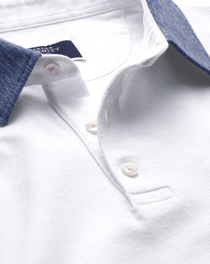White Cotton Linen Polo Charles Tyrwhitt