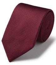Burgundy silk plain classic tie