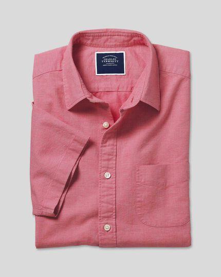 Classic Collar Short Sleeve Cotton Linen Shirt - Coral