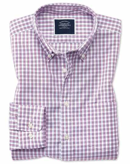 Gingham Soft Washed Non-Iron Tyrwhitt Cool Shirt - Berry