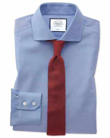 Chemise bleue en oxford de coton stretch slim fit à col cutaway sans repassage