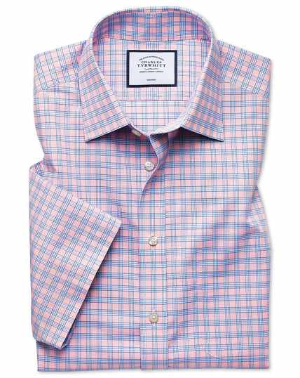 Classic fit non-iron Tyrwhitt Cool poplin short sleeve pink check shirt