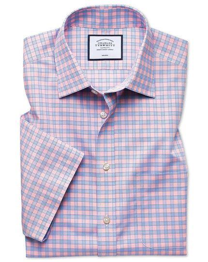 Classic fit non-iron Tyrwhitt Cool poplin short sleeve pink check shirt