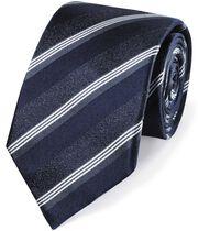 Cravate classique bleu marine en soie à rayures ton sur ton