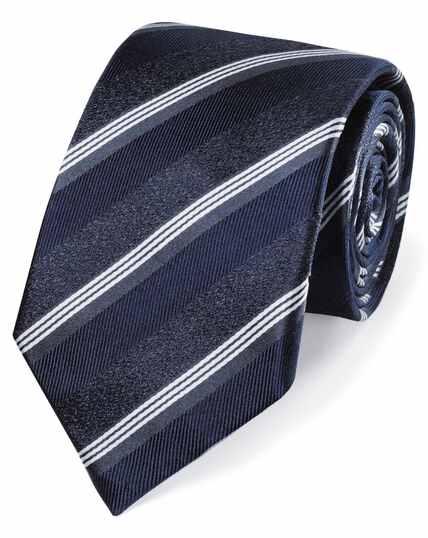 Navy tonal stripe silk classic tie