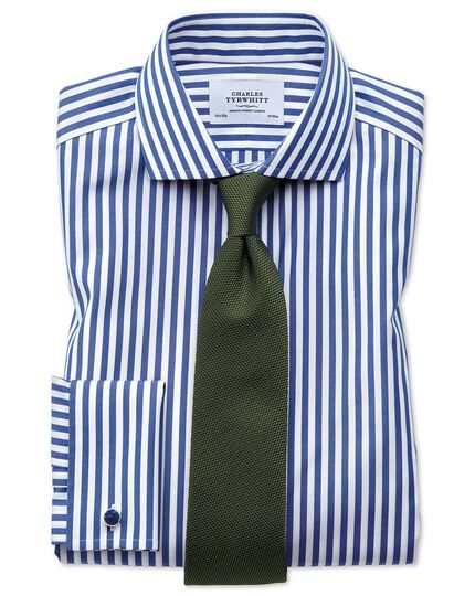Slim fit spread collar non-iron Bengal stripe blue shirt